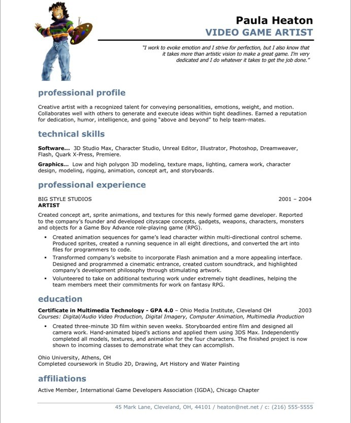 Resume Examples Artist