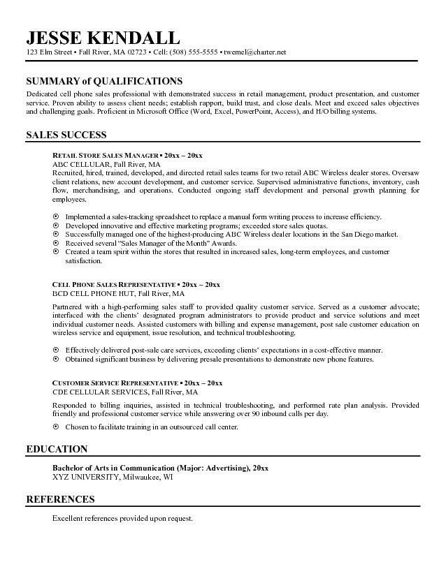 Resume Examples With Summary