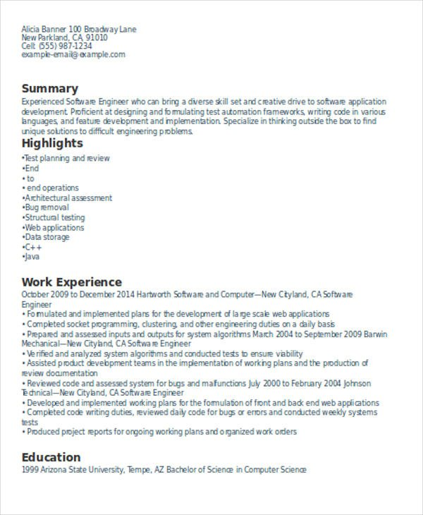 Resume Format 4 Years Experience