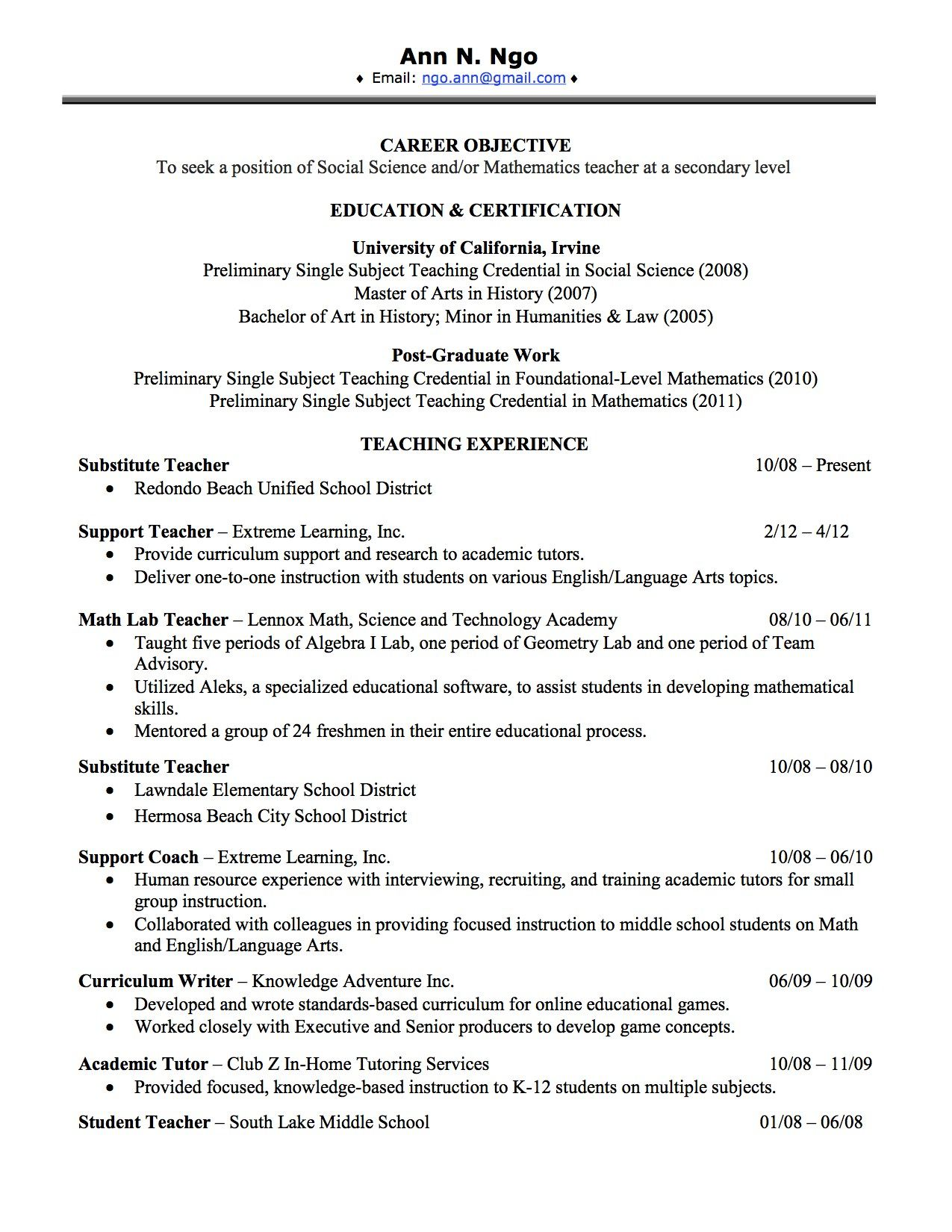 Resume Templates Leadership Position
