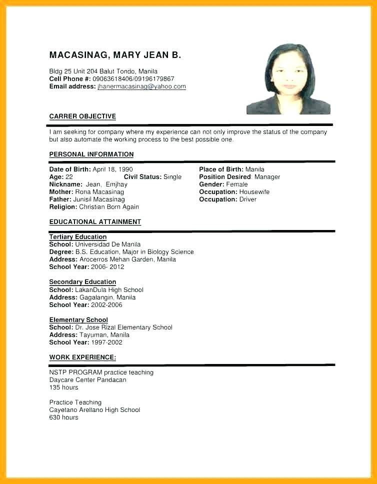 Sample Of Resume Format For Job Application
