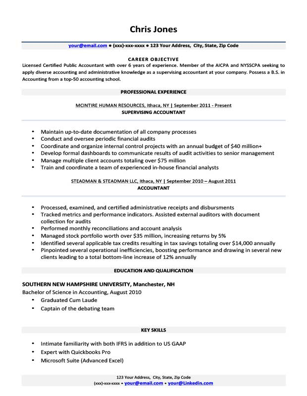 Resume Format For 5 Years Experience In Accounting