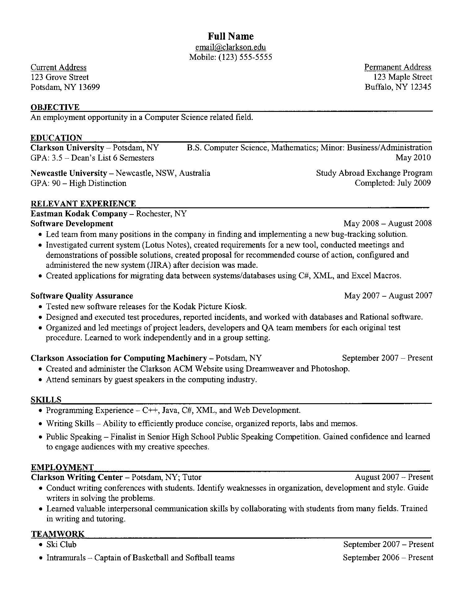 Resume Templates Computer Science