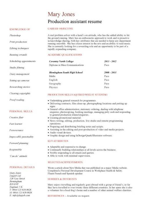Resume Templates No Work Experience