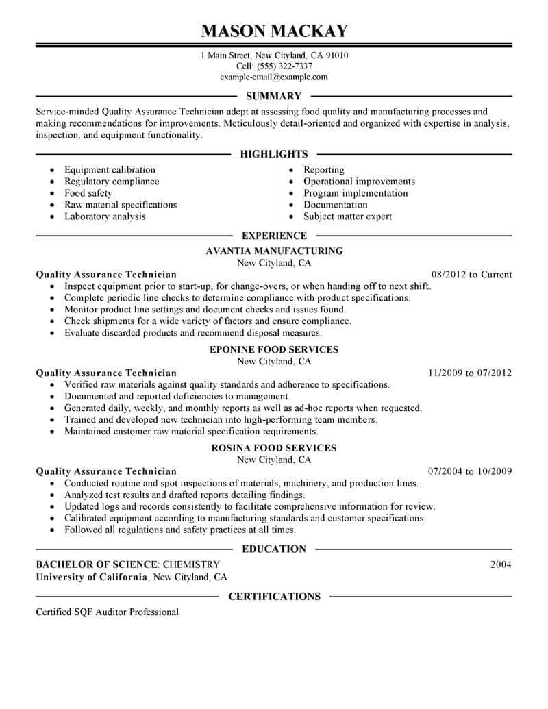 Resume Examples Quality Assurance