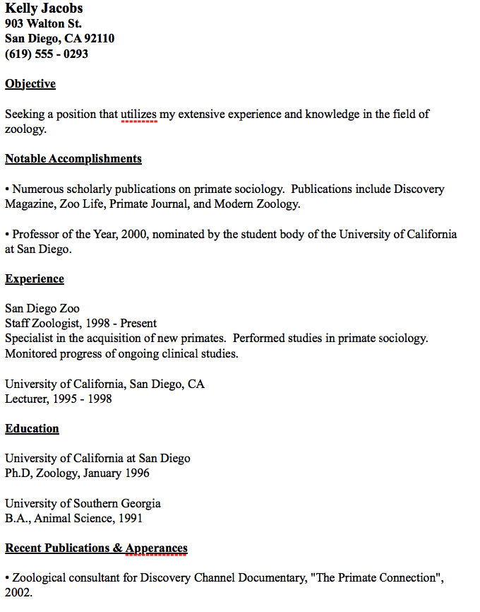 Zoology Resume Examples