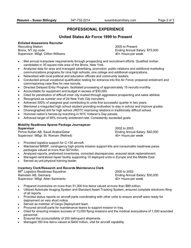 Resume Templates Government