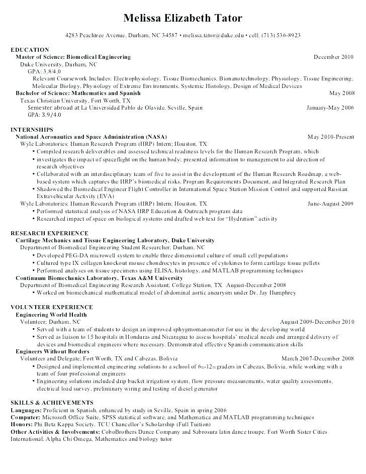 Resume Templates In Spanish