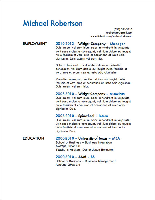 Resume Templates 10 Years Experience