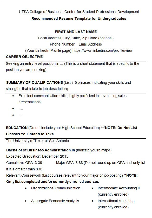 Resume Templates College