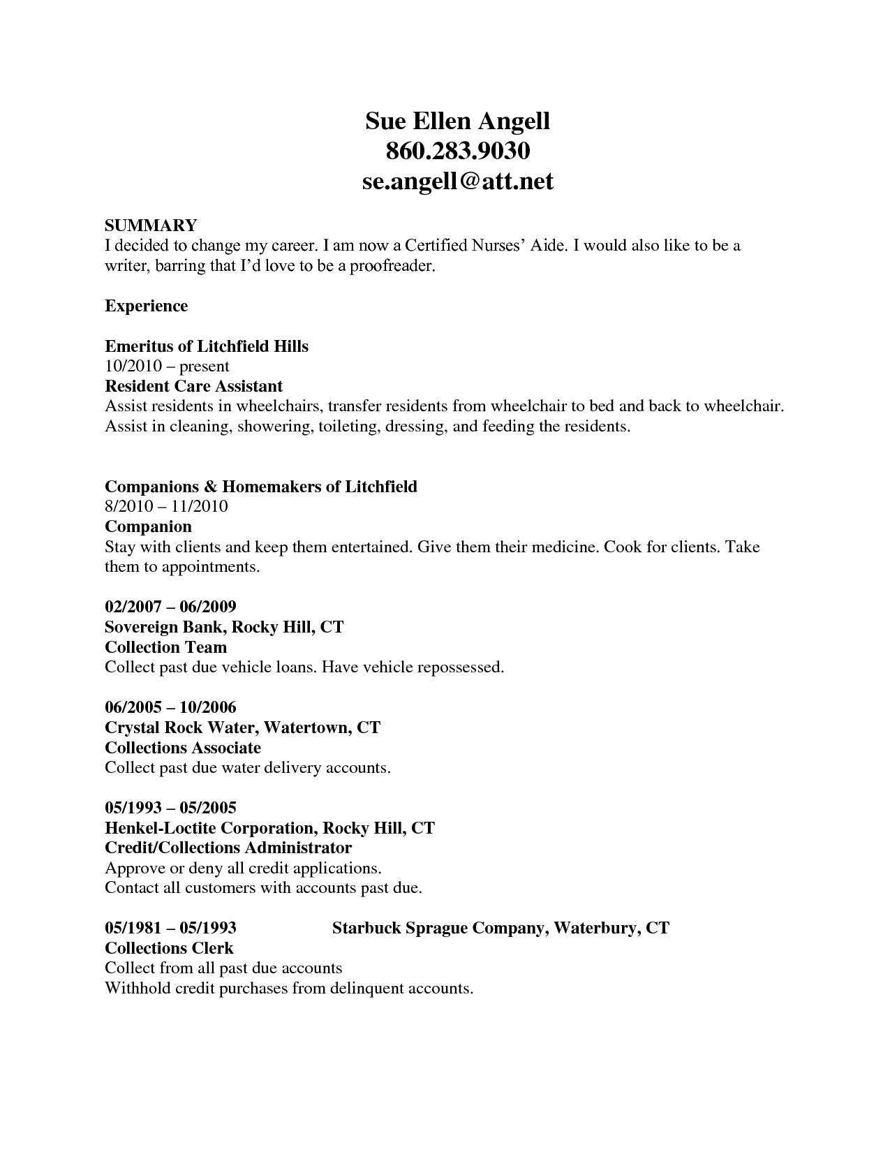 Resume Examples Cna