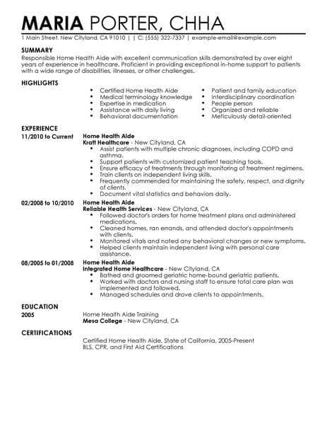 Resume Examples Home Health Aide