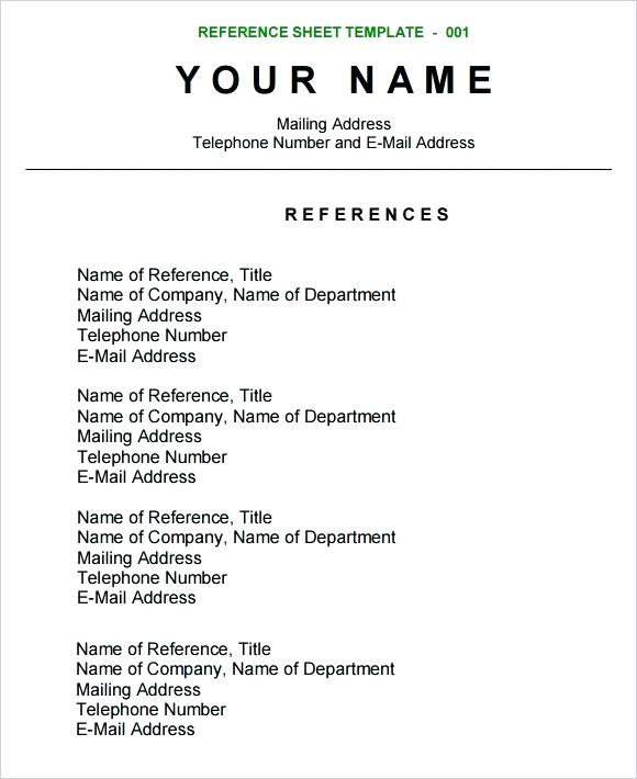 Resume Format References