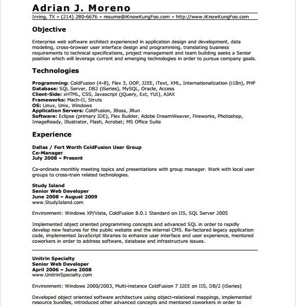 0 1 Year Experience Resume Format