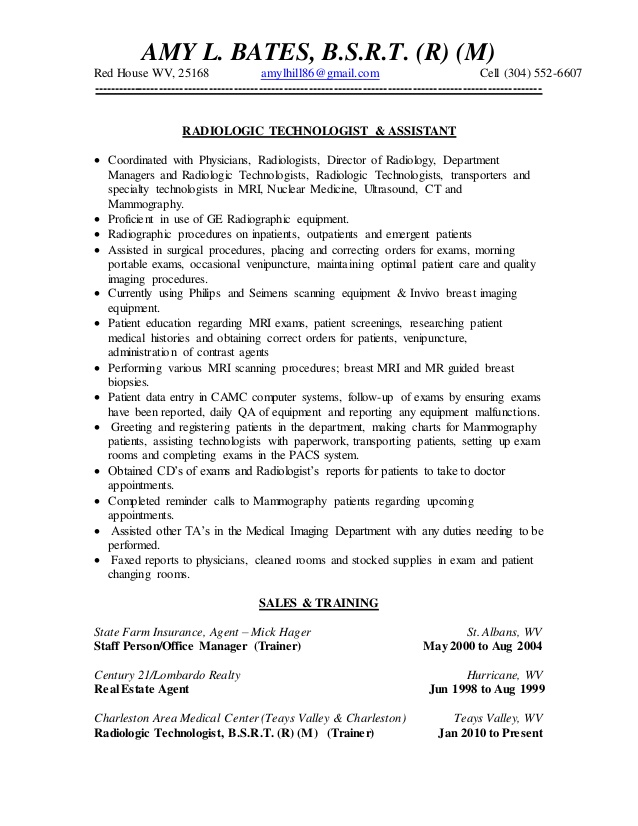 X Ray Technologist Resume Examples