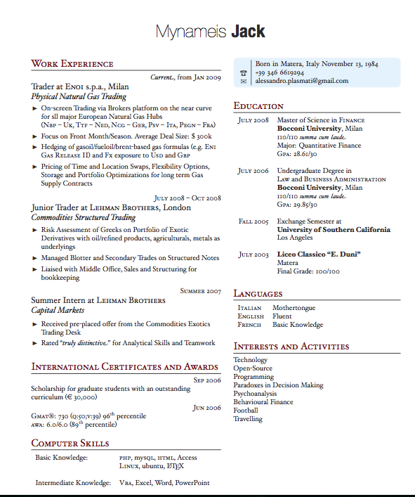 2 column resume templates
