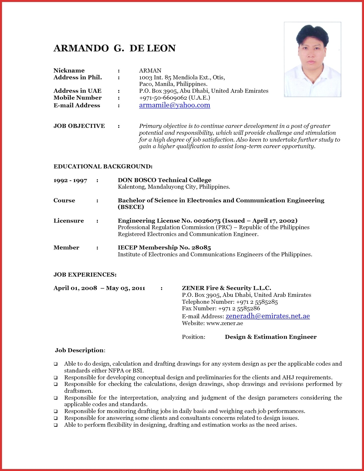 Resume Format New 2018