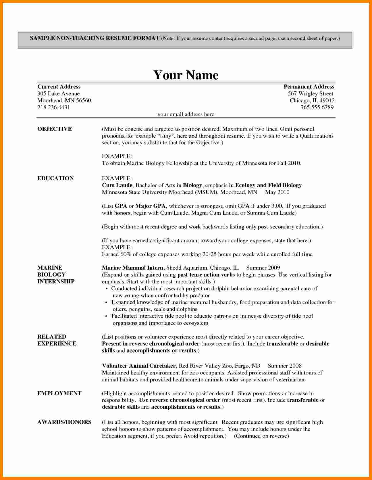 Resume Format Teacher