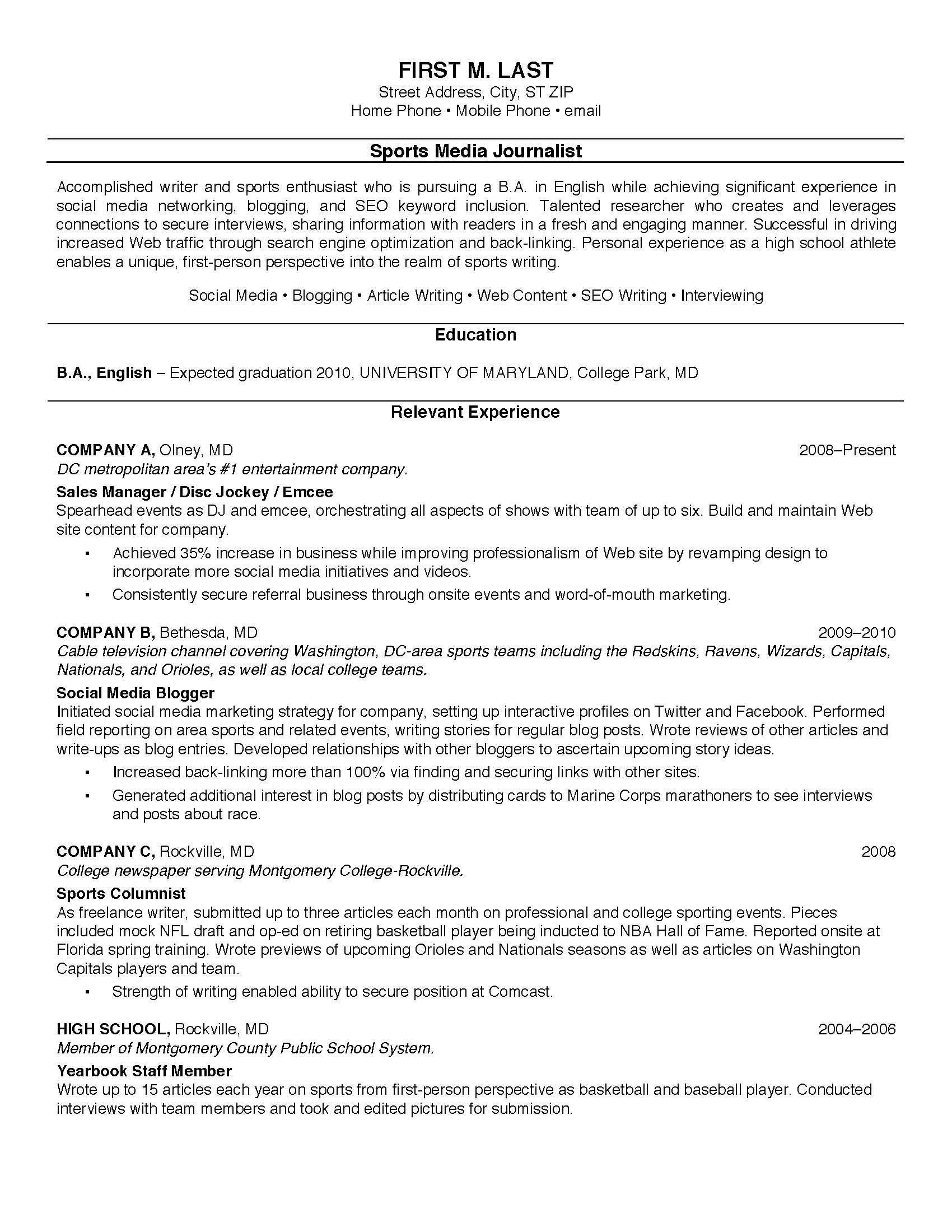 Resume Format College Student