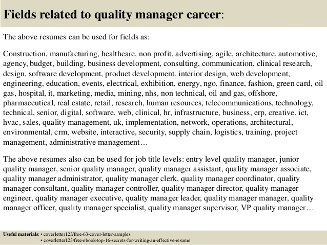Resume Examples Quality Manager