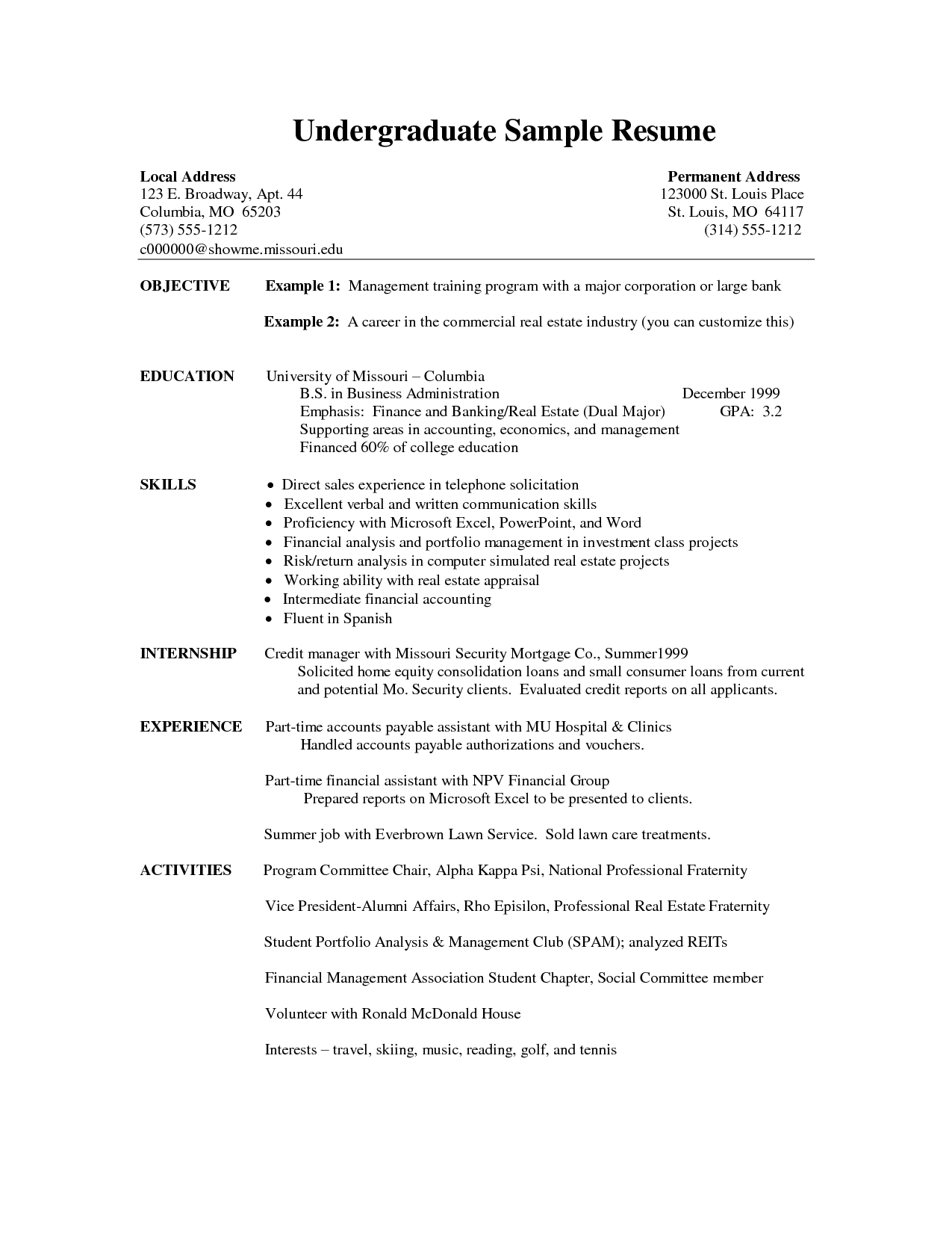 Resume Templates Undergraduate Resume Templates