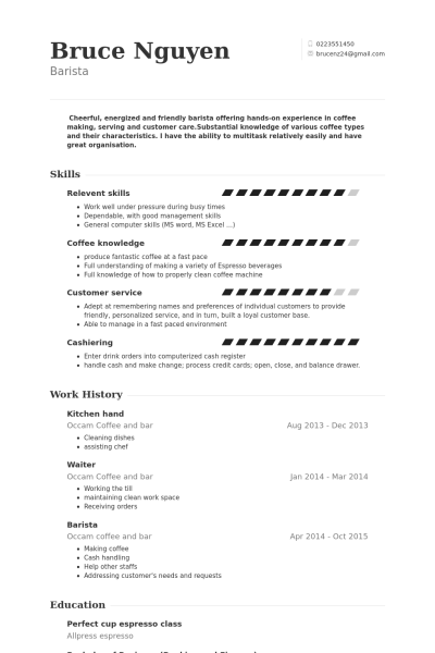 Resume Examples Kitchen Hand