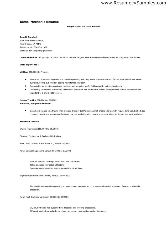 Resume Examples Diesel Mechanic