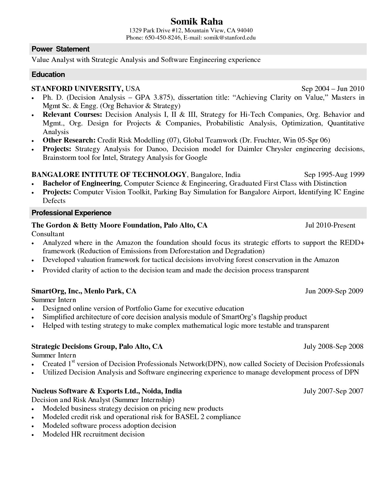 Resume Format Computer Science Resume Templates