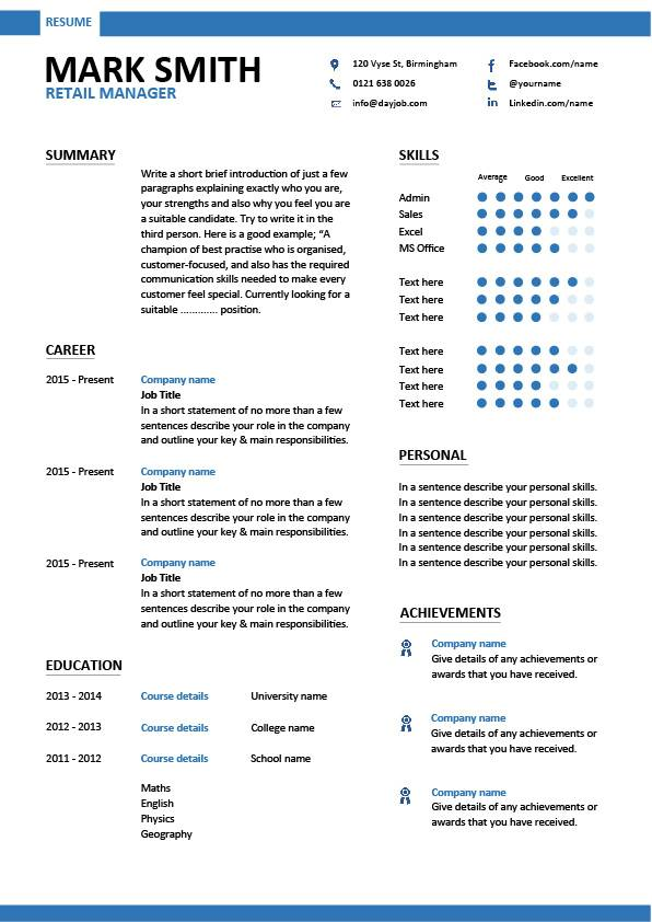 Resume Examples Retail Manager