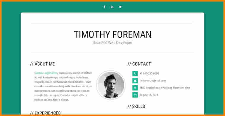 Resume Templates Bootstrap