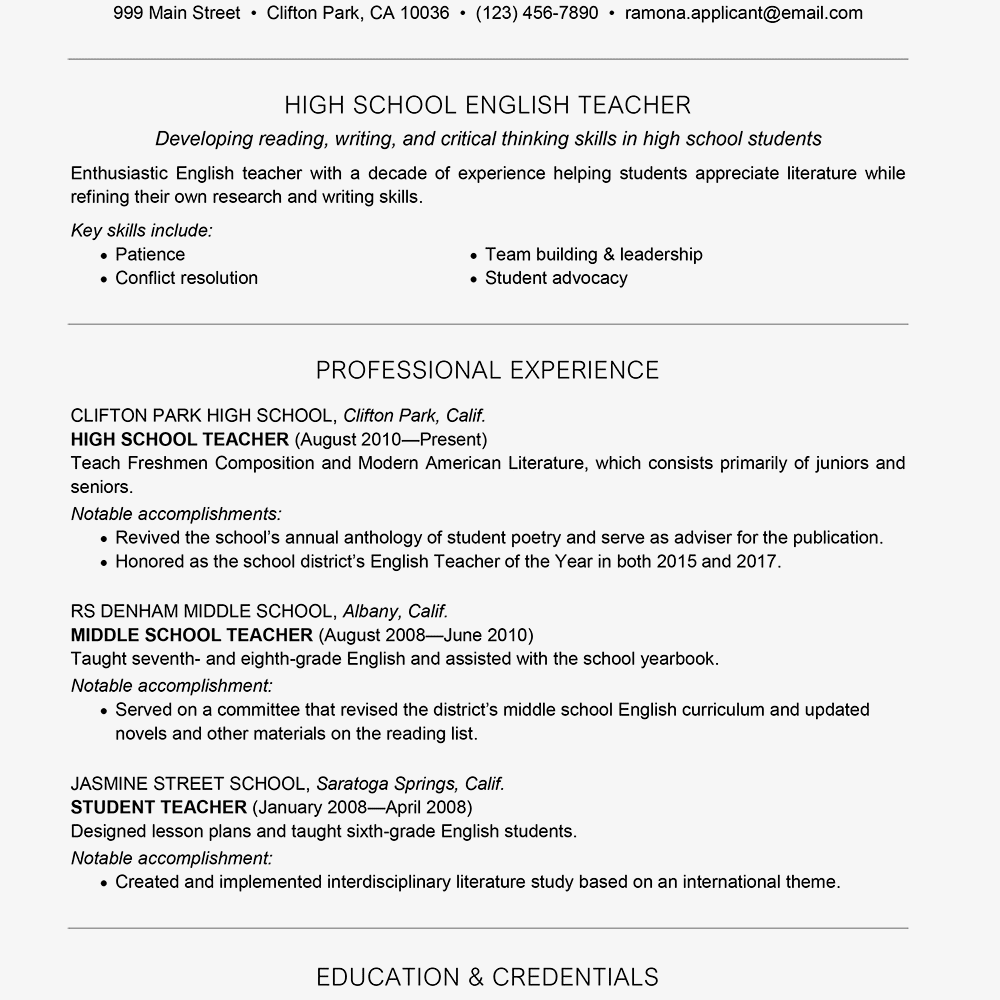 Accomplishments On Resume Examples