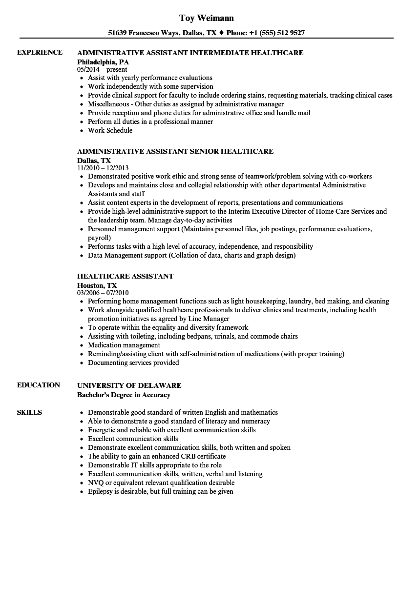 Resume Examples Healthcare