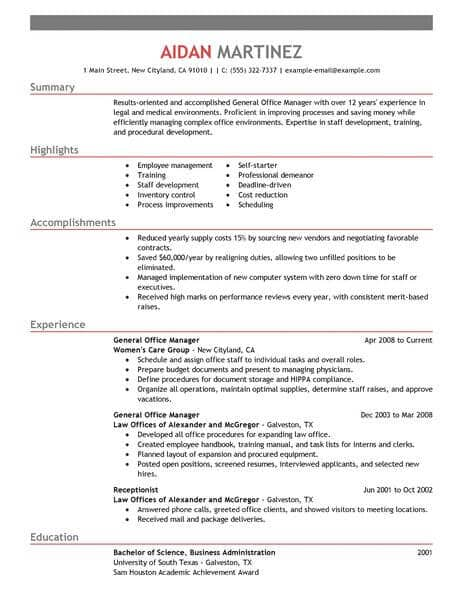 Resume Examples General Manager