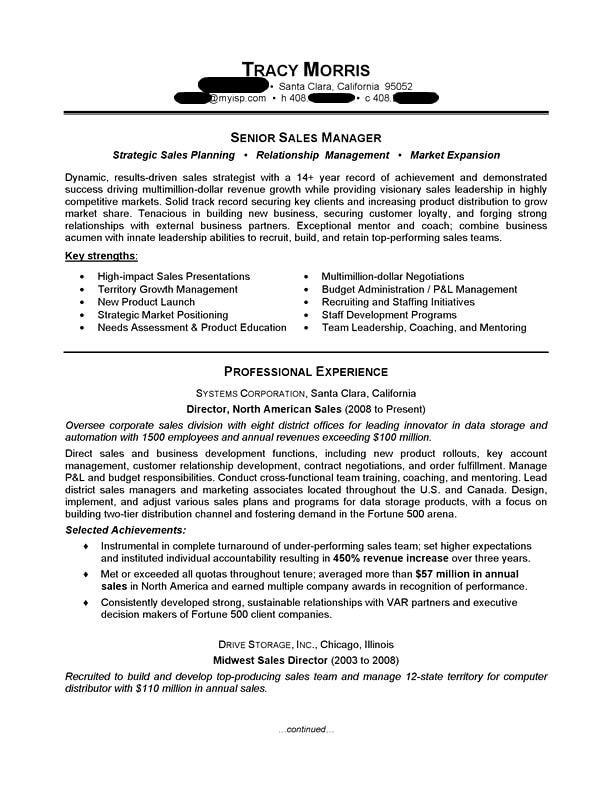 Resume Examples For Managers