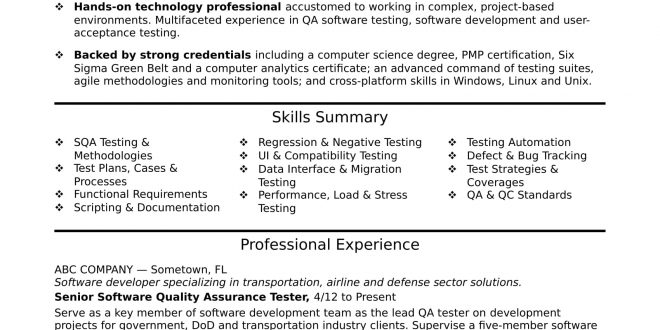 Resume Templates For Qa Tester