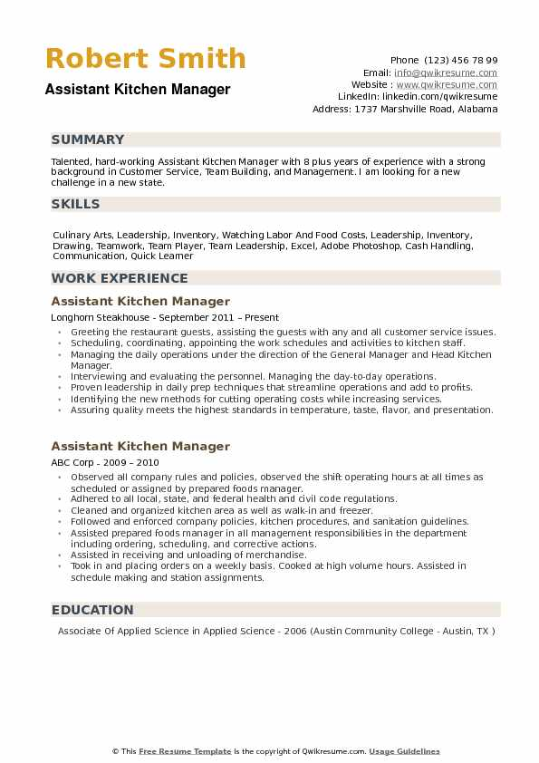 Resume Templates For Kitchen Manager