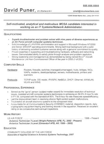 92F Resume Examples