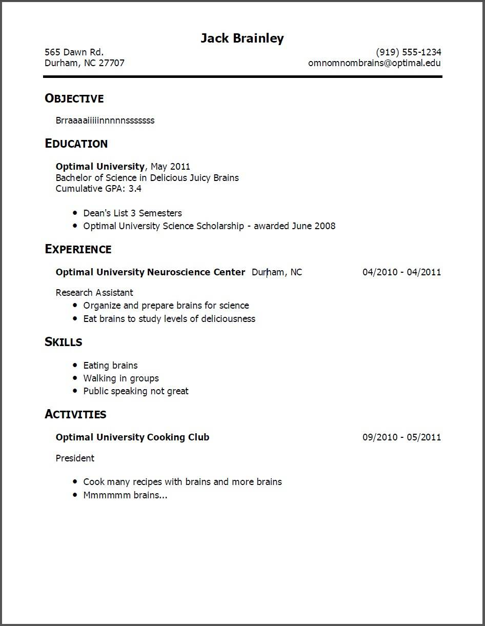 Resume Examples No Experience