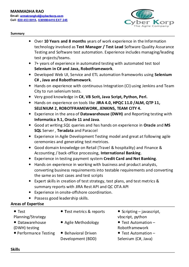 Resume Templates For Qa Lead