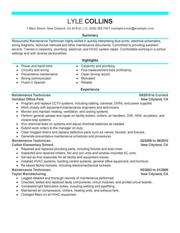 A C Technician Resume Examples