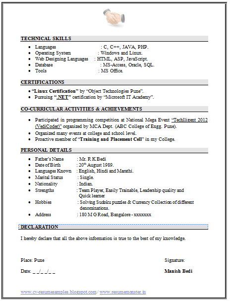 Resume Format Language Skills
