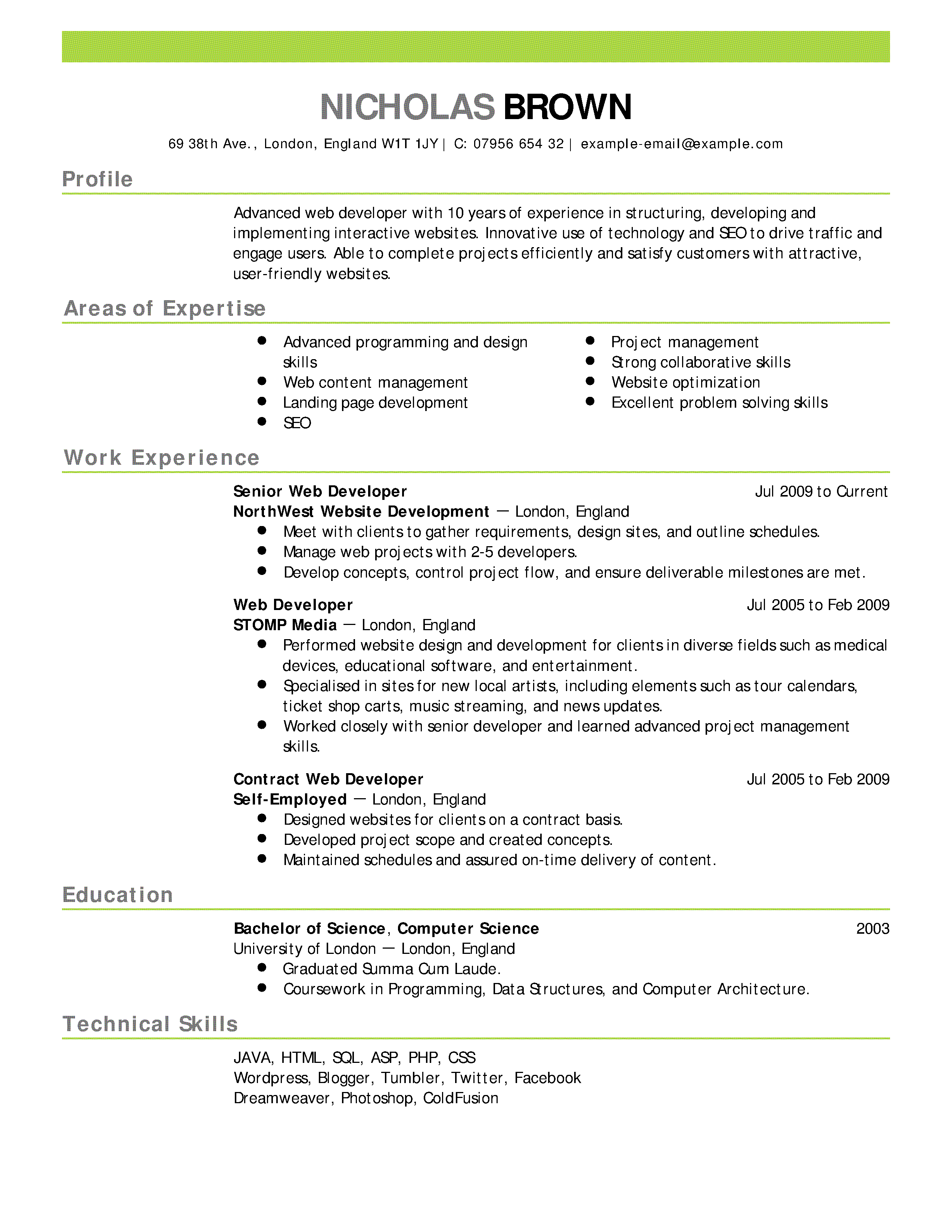 Resume Examples Templates