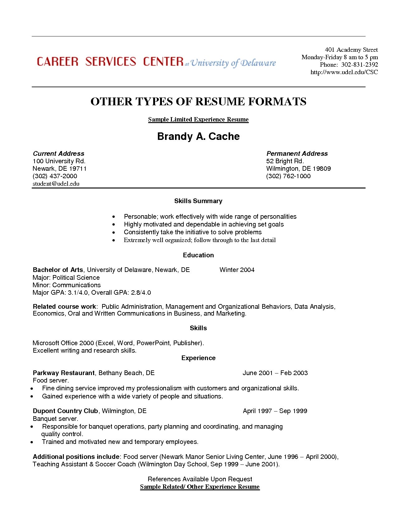 Resume Templates Limited Work Experience