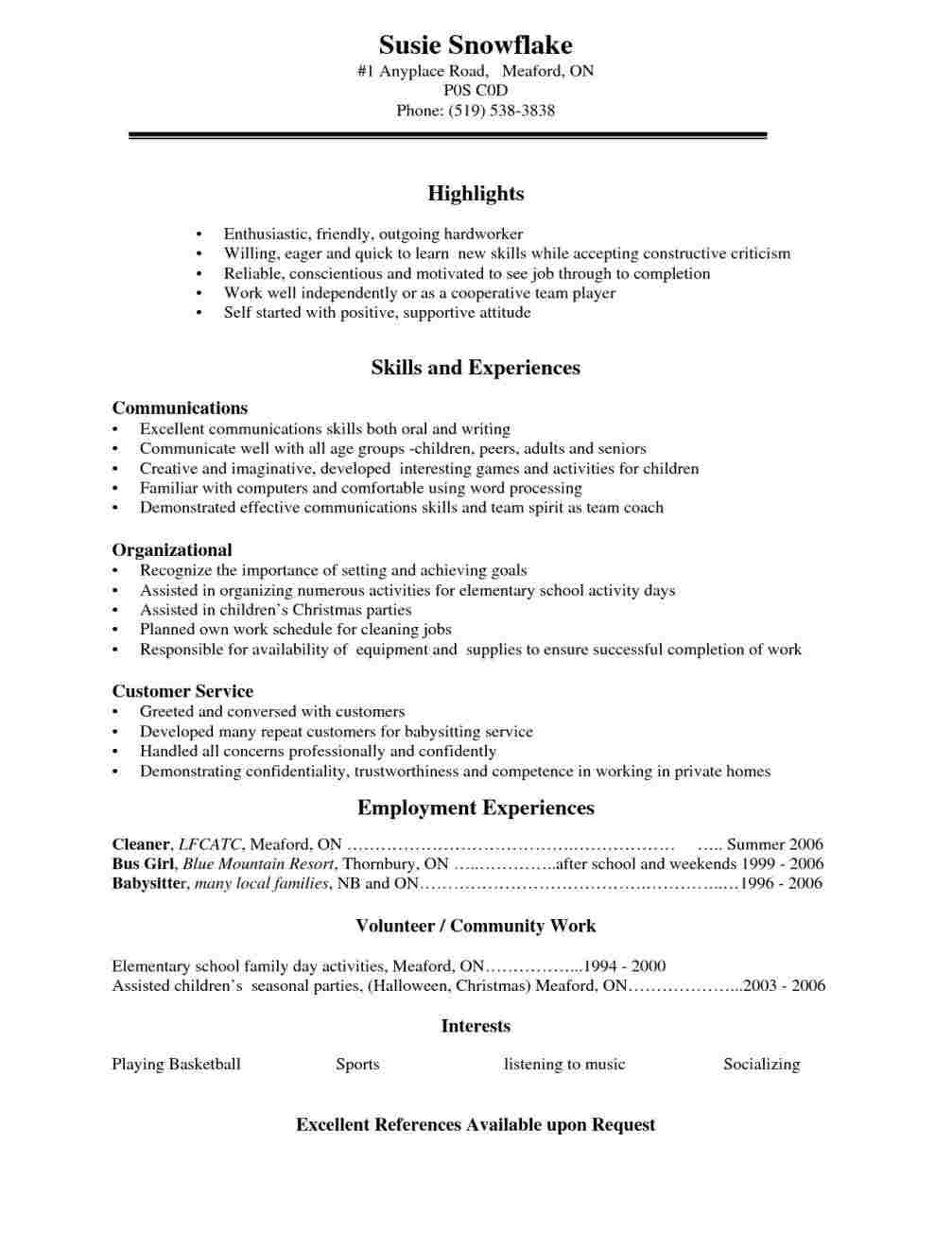 Resume Templates Youth Central