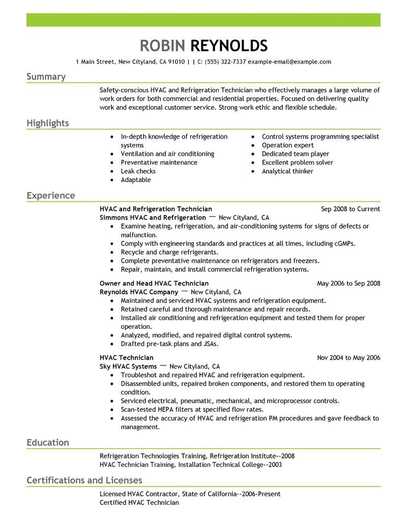 Resume Templates Hvac