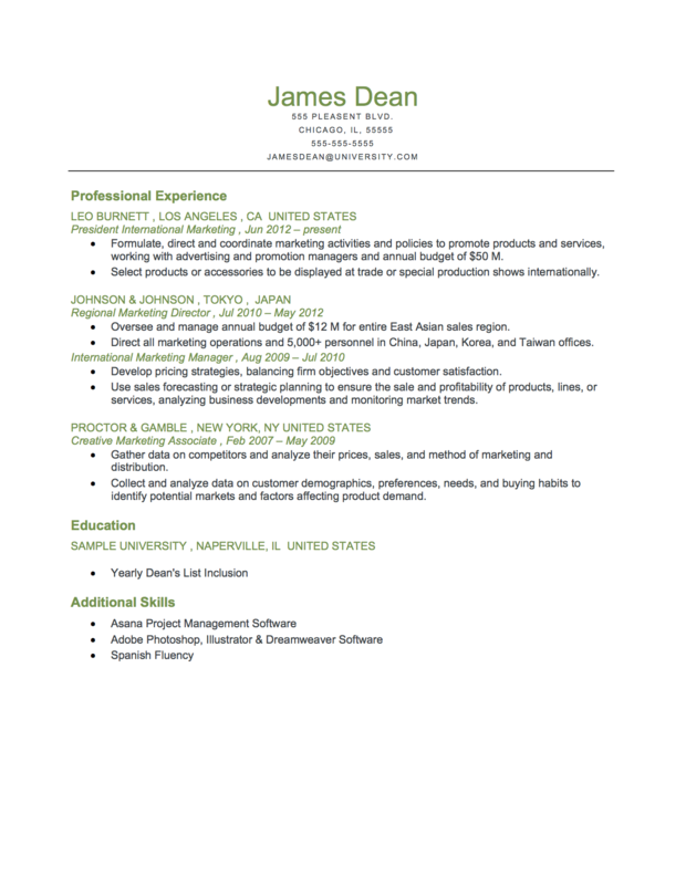 Resume Format Reverse Chronological