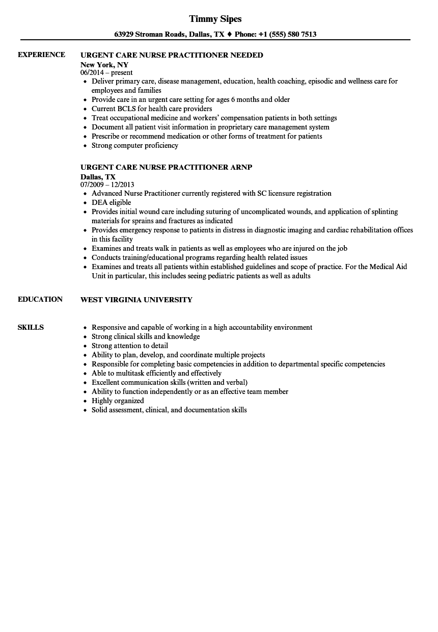 Resume Examples Nurse Practitioner