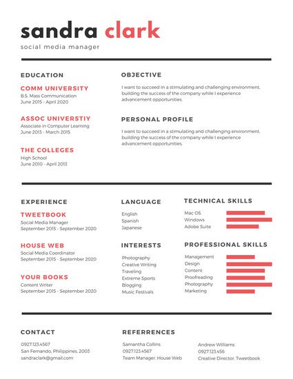 Resume Templates Red