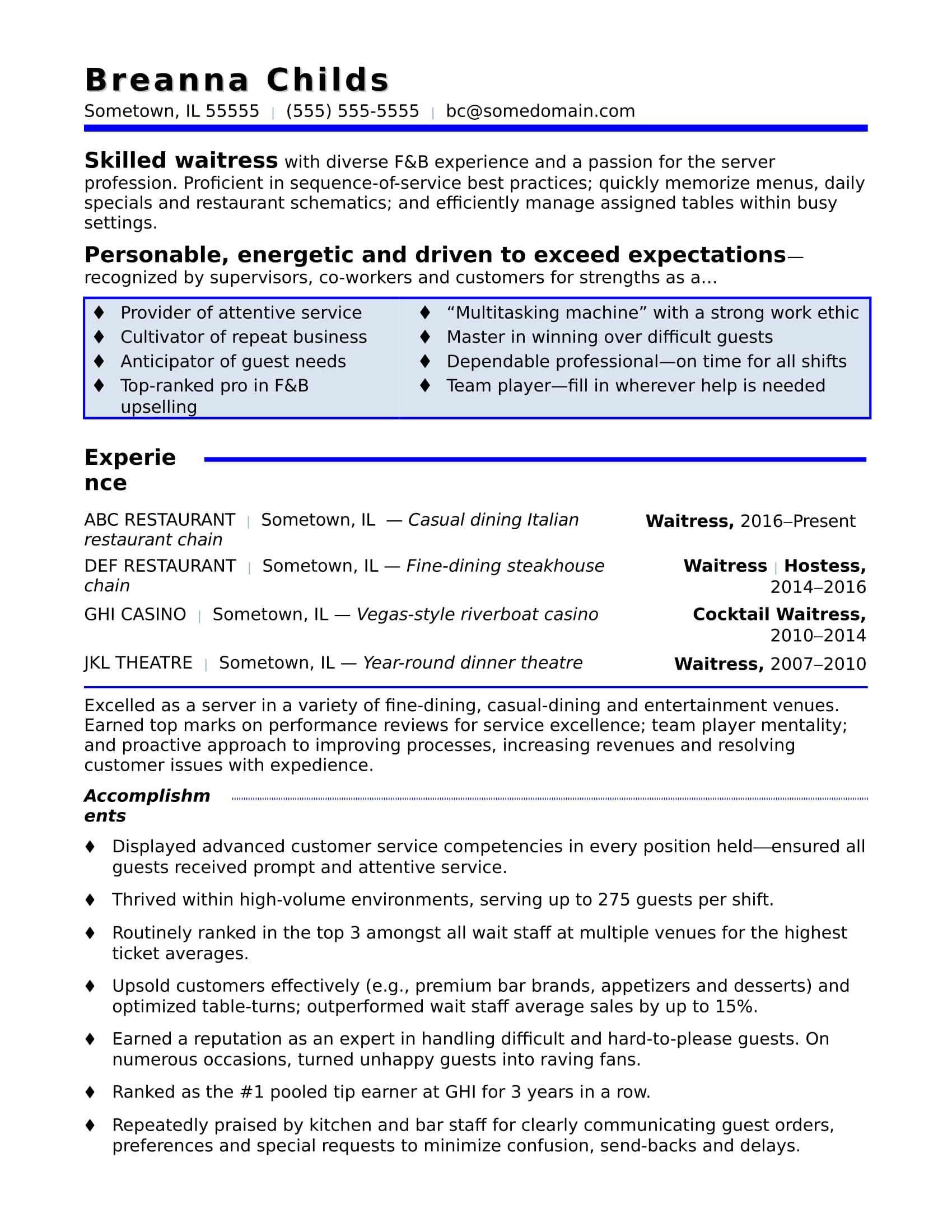 resume examples hostess