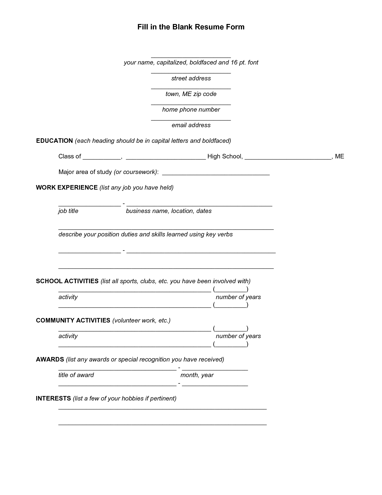 Resume Templates You Can Fill In